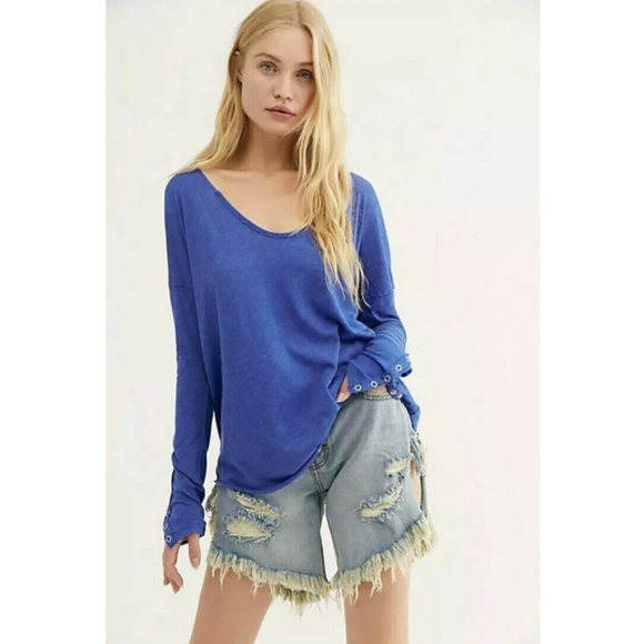 Free People Tops - FREE PEOPLE We The Free Sienna Tee Blue︱Size S